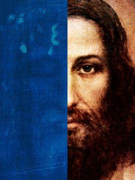 Postal Negativo del Rostro de la Sábana Santa y rostro según Agemmian